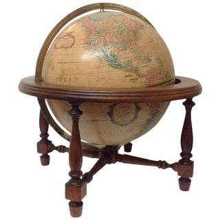 "Mid Century Walnut Repogle 12"" Illuminated Globe For Sale"