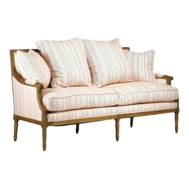 Audley Sofa in White Cotton with Red Stripes For Sale