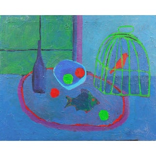 ' Still Life With a Songbird', American School, Modernism, Post Impressionist Oil. Circa 1950 For Sale