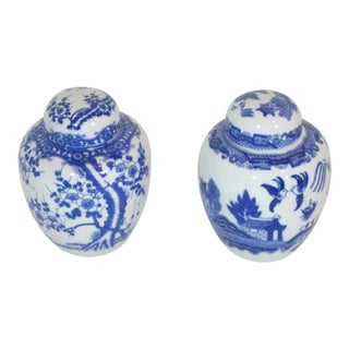 1950s Vintage Blue & White Ginger Jars - A Pair For Sale