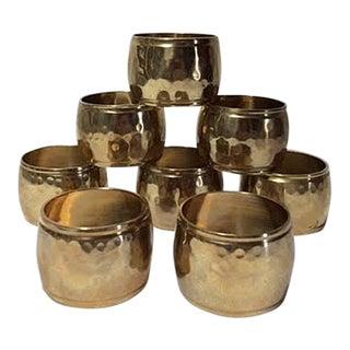 Vintage Hammered Brass Napkin Rings - Set of 8