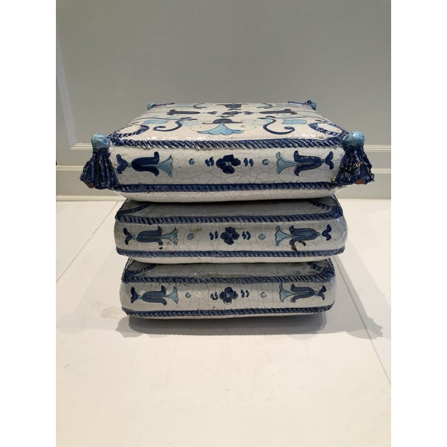 Italian Blue and White Ceramic Garden Seat/Side Table For Sale - Image 12 of 12