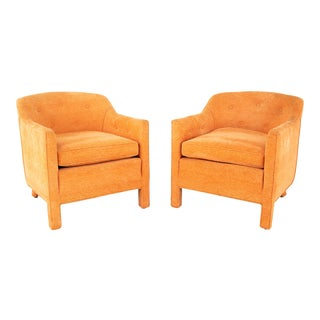 Edward Wormley for Dunbar Style Mid Century Barrel Chairs - Pair For Sale