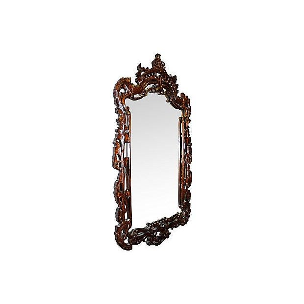 Rococo Carved Wood Mirror For Sale - Image 3 of 4