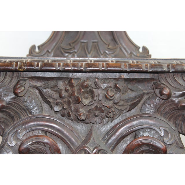 Gothic Early 19th Century Antique Italian Pasargad DC Renaissance Carved Wooden Chair For Sale - Image 3 of 12