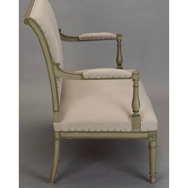 French Empire Style Painted Settee With Neutral Upholstery For Sale - Image 4 of 8