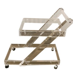 Crystal Clear Lucite Z Cantilever Bar Cart For Sale