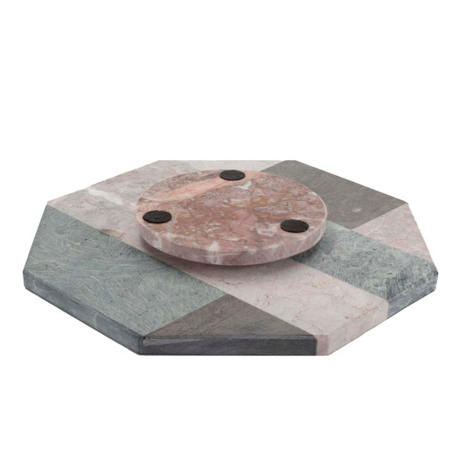 Art Deco Hollywood Regency Mixed Marble Lazy Susan For Sale - Image 3 of 5