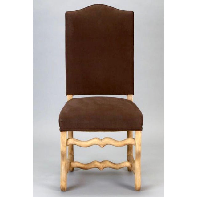 French Set of 6 Bleached Oak Wood Os Du Mouton Dining Chairs For Sale - Image 3 of 8