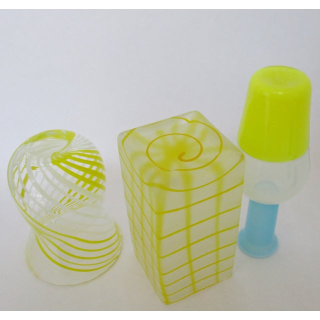 Blown Yellow Glass Vases - Set of 3 For Sale - Image 5 of 5