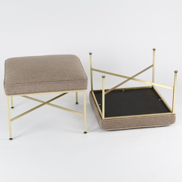 1950S VINTAGE PAUL MCCOBB X-BASE BRASS STOOLS- A PAIR For Sale In New York - Image 6 of 10