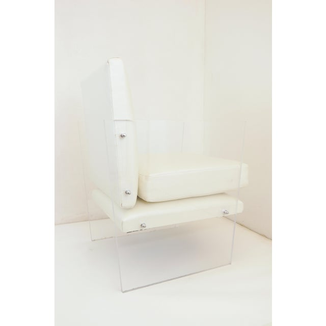 White Vintage Mid Century Modern Clear Lucite & White Upholstered Arm Chair For Sale - Image 8 of 13