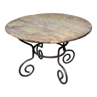 Vintage Bistro Industrial Oval Dining Table For Sale