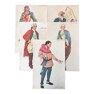 1920s British Historical Teaching Posters, Set of 5 (Robert Bruce, Joan of Arc, Lord Clive, Prince Charles Edward, Was Tyler) For Sale