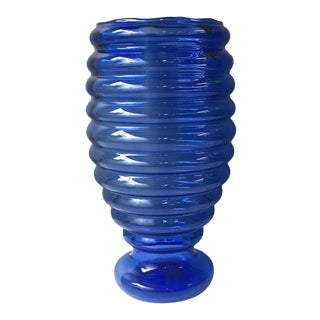 Vintage 1940s Cobalt Blue Glass Beehive Floor Vase