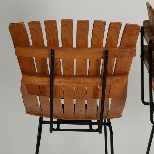 Arthur Umanoff Iron Slat Wood Swivel Bar Stools 4 - Image 3 of 6