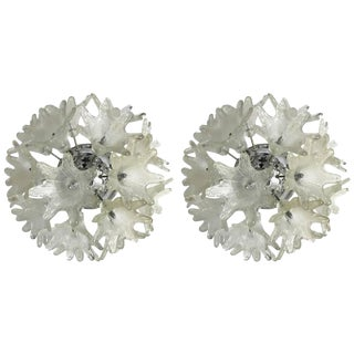 Circa 1968 Venini Esprit Series Style Murano Sconces or Flush Mounts - A Pair For Sale