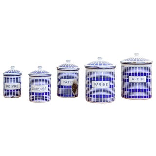 1920s French Enamel Canisters - Set of 5 For Sale