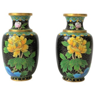 Yellow and Black Asian Cloisonné and Brass Vases, Ca. 1970s For Sale