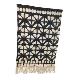 Blue & Ivory Shibori Wall Tapestry For Sale
