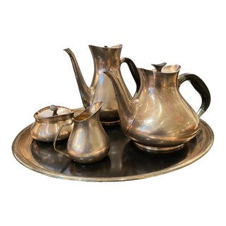 Danish Silver Plated Tea and Coffee Set by Hans Bunde for Cohr For Sale