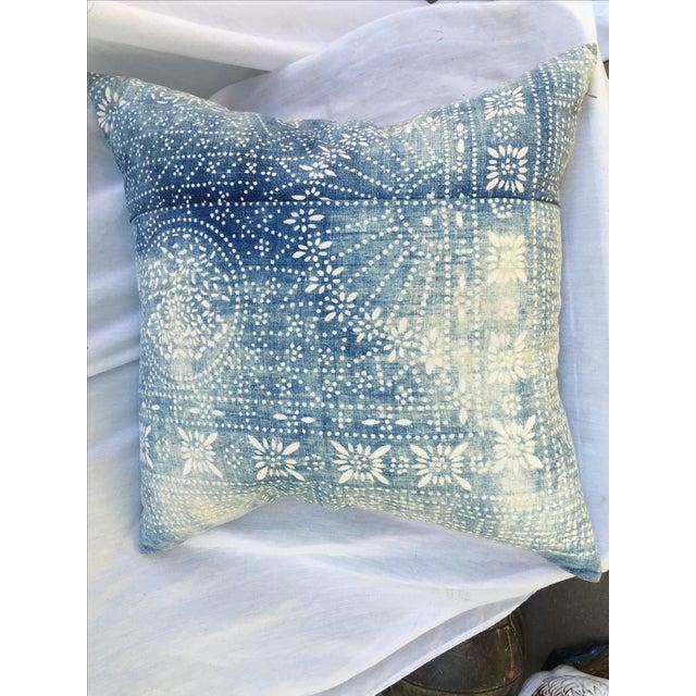 Bleached-Out Indigo Batik Pillow - Image 9 of 10