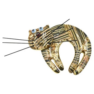 Cynthia Chuang Jewelry 10 Brown Cat Brooch For Sale