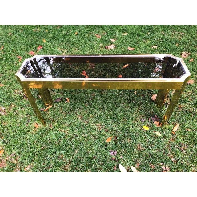 Contemporary 1970's Baughman Style Brass and Smoked Glass Console Table For Sale - Image 3 of 10