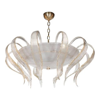 Art Deco Textured Murano Glass Chandelier with Scrolled Feather Detail