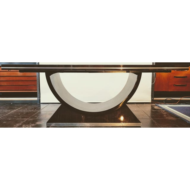 20th Century Italian High Gloss Walnut and Chrome Extendable Dining Table For Sale - Image 9 of 9