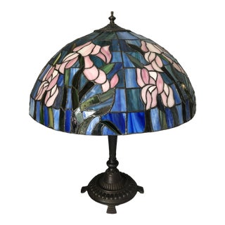 Vintage Tiffany Style Leaded Glass Lamp For Sale
