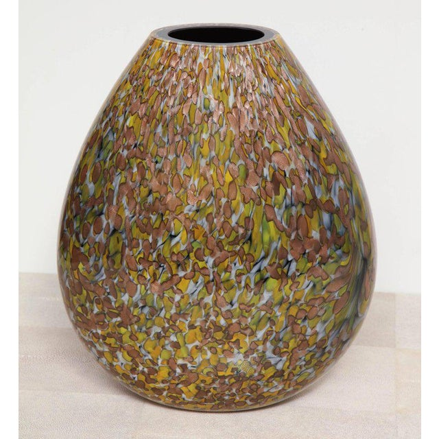 Signed Crepax Murano Glass Vase in Olive and Copper Metallic For Sale In New York - Image 6 of 6