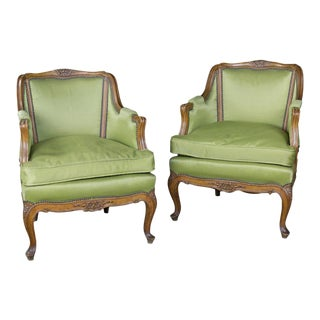 Pair of Louis XV Style Green Armchairs With Exposed Wood Frame For Sale