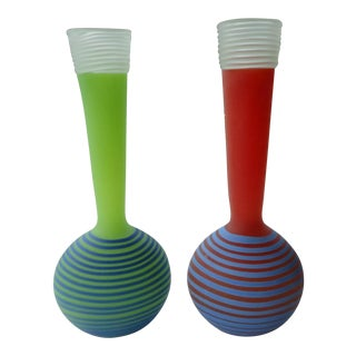 Studio Paran Post Modern Memphis Design Hand Blown Glass Vases, Signed - a Pair For Sale
