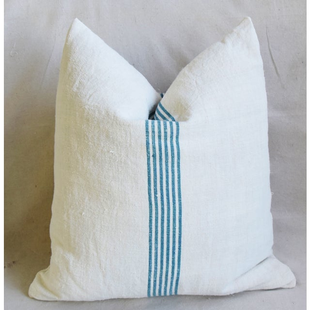 """Aqua Striped French Homespun Grain Sack Textile Feather/Down Pillows 21"""" Square - Pair For Sale - Image 11 of 13"""