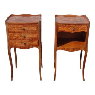 Pair of Vintage French Louis XVI Rococo Nightstands W Decorative Inlay & Ormalu For Sale