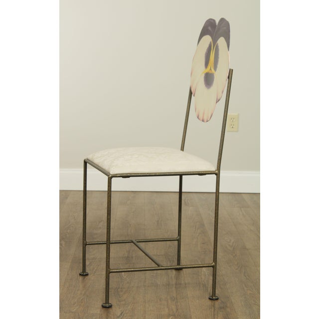 Wrought Iron Hand Painted Flower Back Side Chair For Sale - Image 4 of 13