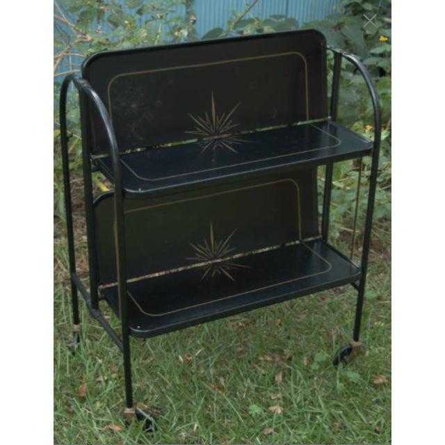 Vintage Unique Mid Century Black Folding Rolling Bar Cart Image 7 Of 8