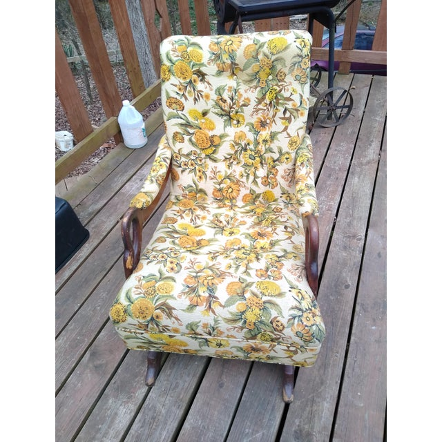 1930s Vintage Gooseneck Platform Rocking Chair For Sale - Image 5 of 5