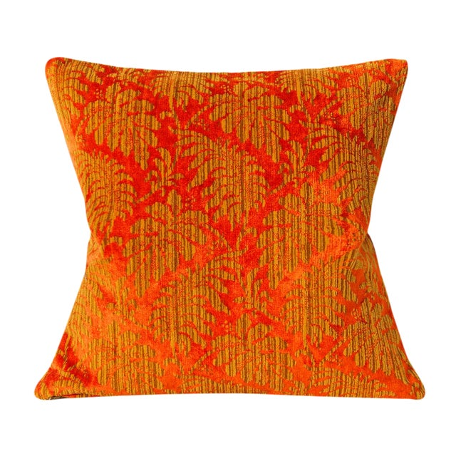 Orange and Gold Damask Vintage Velvet Pillow Cover For Sale