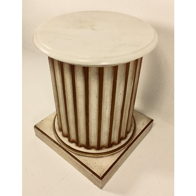 White Carrera Top Column Side Table For Sale - Image 10 of 10