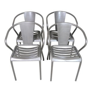 Mid Century Tolix French Armchairs- Set of 4 For Sale