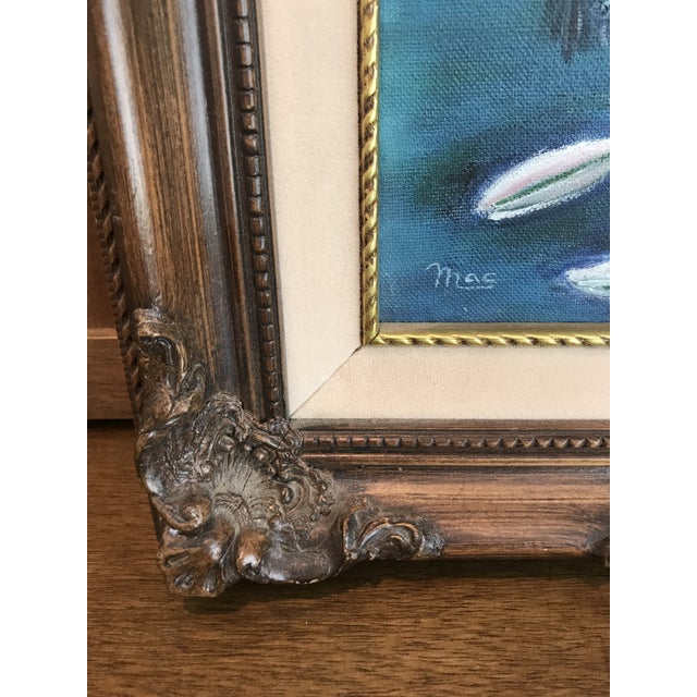 Vintage Hummingbird and Flowers Oil Painting, Signed For Sale - Image 5 of 6