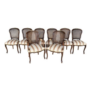 Vintage Louie XV Style Upholstered Cain Back Dining Chairs- Set of 8 For Sale