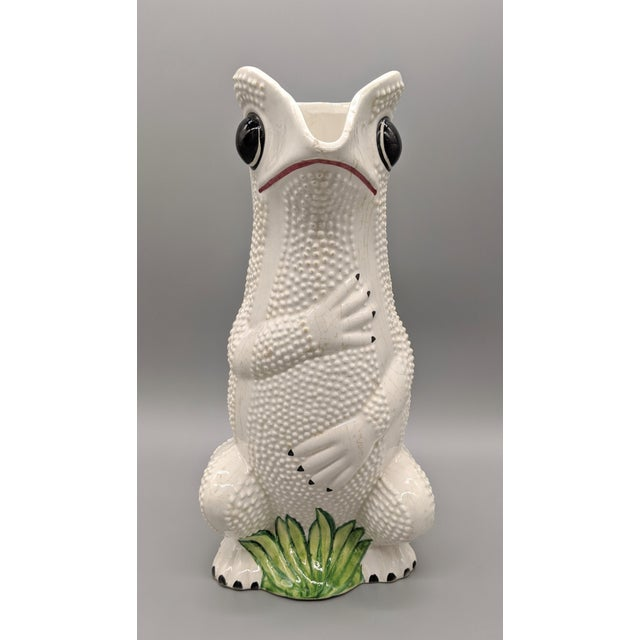 Mid-Century Italian White Hobnail Frog Pitcher For Sale - Image 11 of 13