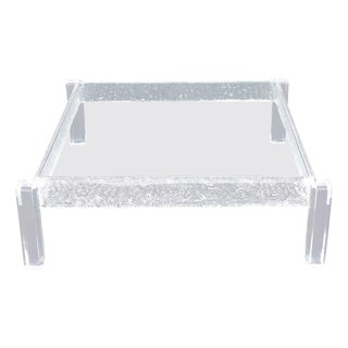 Large Square Carved Lucite Glass Top Coffee Table For Sale