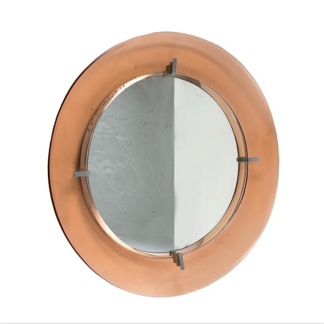Mid-Century Modern Cristal Art Circular Mirror For Sale - Image 3 of 4