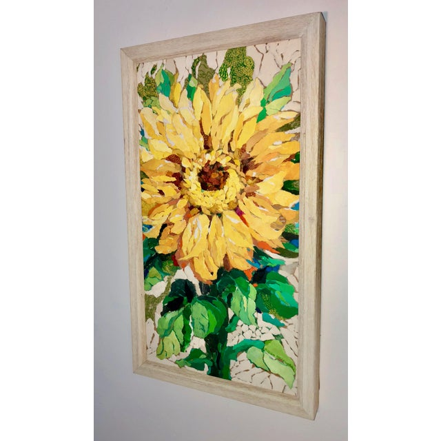 """Sunflower I"" Acrylic Collage Painting For Sale - Image 4 of 7"