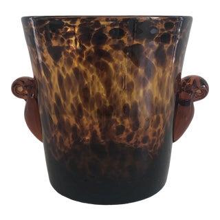 Mid 20th Century Vintage Handblown Tortoiseshell Glass Wine Cooler Ice Bucket For Sale