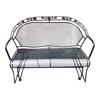 1960 Mid Century Modern Russell Woodard Wrought Iron Glider Bench For Sale